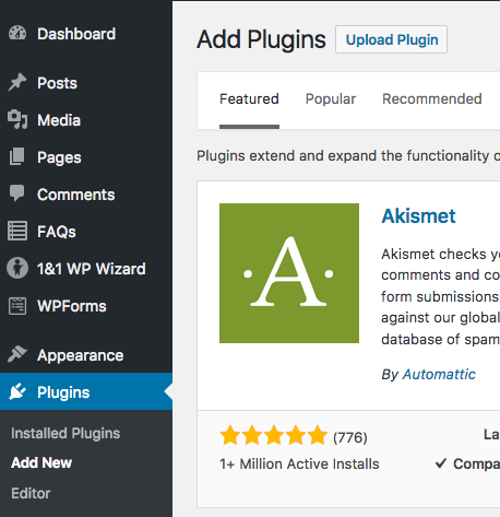 screenshot of add plugins screen