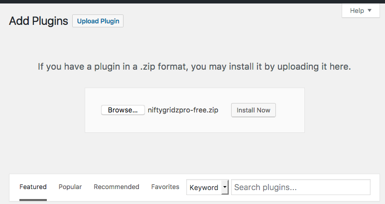 screenshot showing the second part of uploading your installation zip file