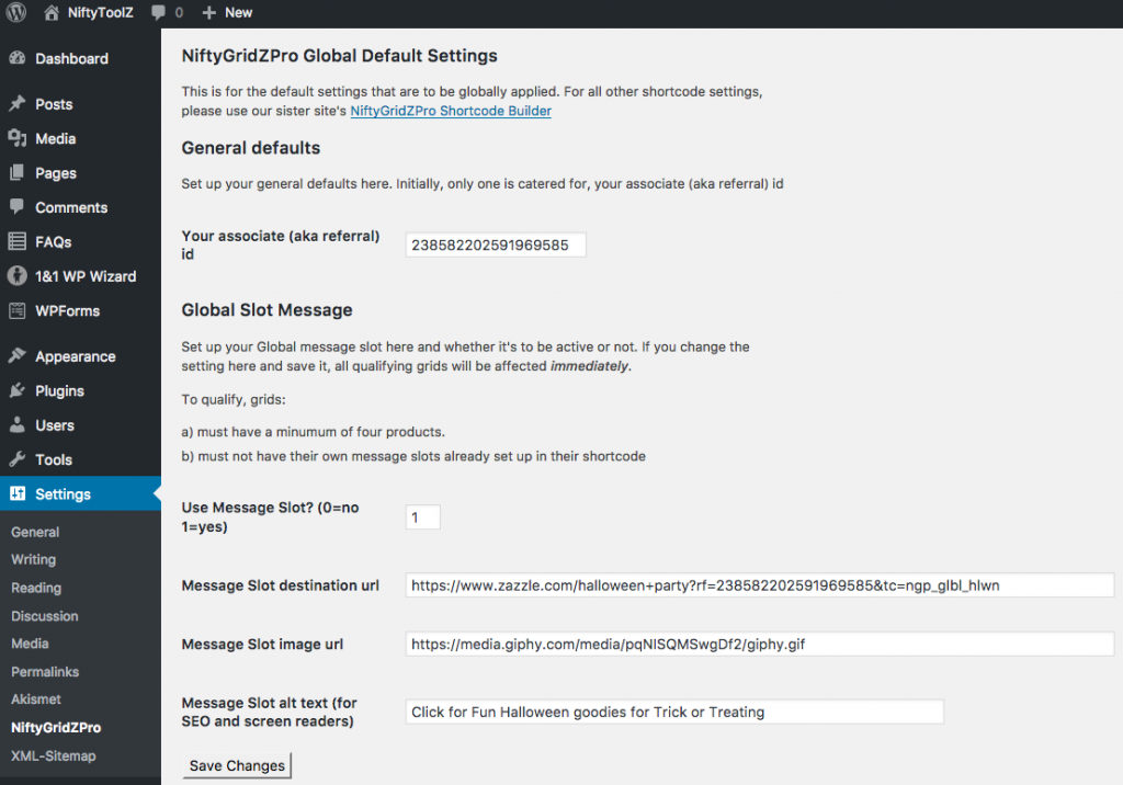 The new NiftyGridZPro settings screen for global defaults