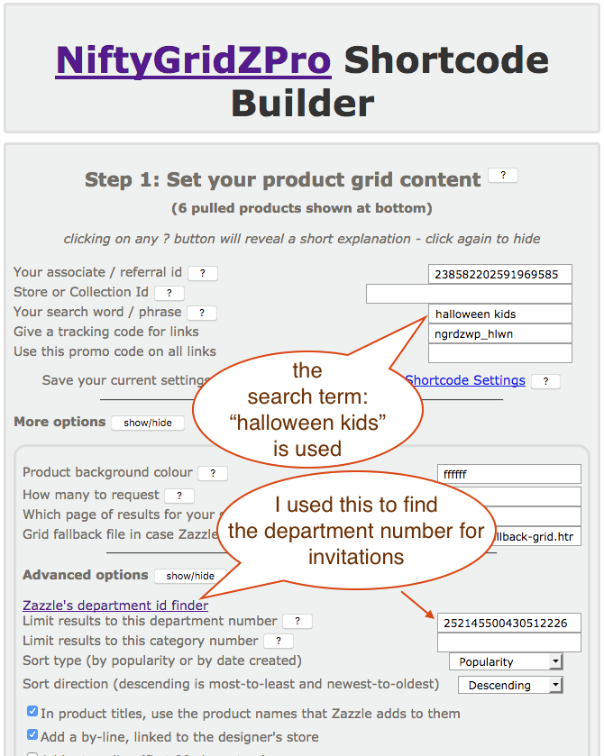 screenshot showing the shortcode builder being used