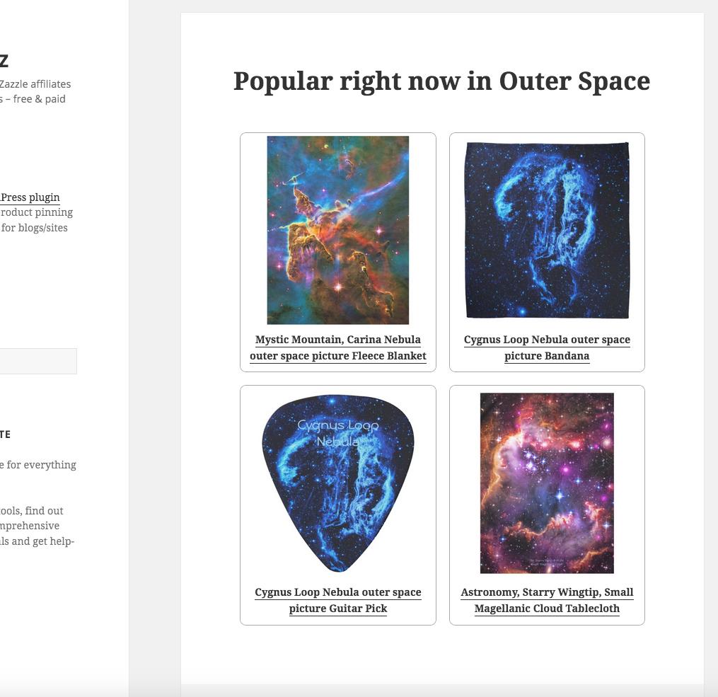 screenshot of a bog post iwth product grid