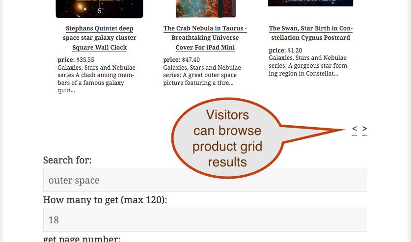 screenshot showing product grid navigation