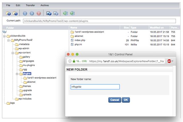 screenshot of making a new folder for the plugin