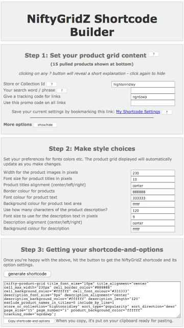 screenshot of the NiftyGridZ shortcode helper page