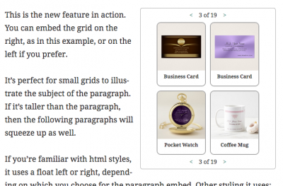 Example of the V3.5 feature: paragraph embedded grids