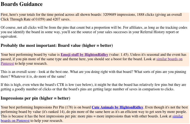 part of the Boards Guidance section, personalized by our Pinterest Analytics