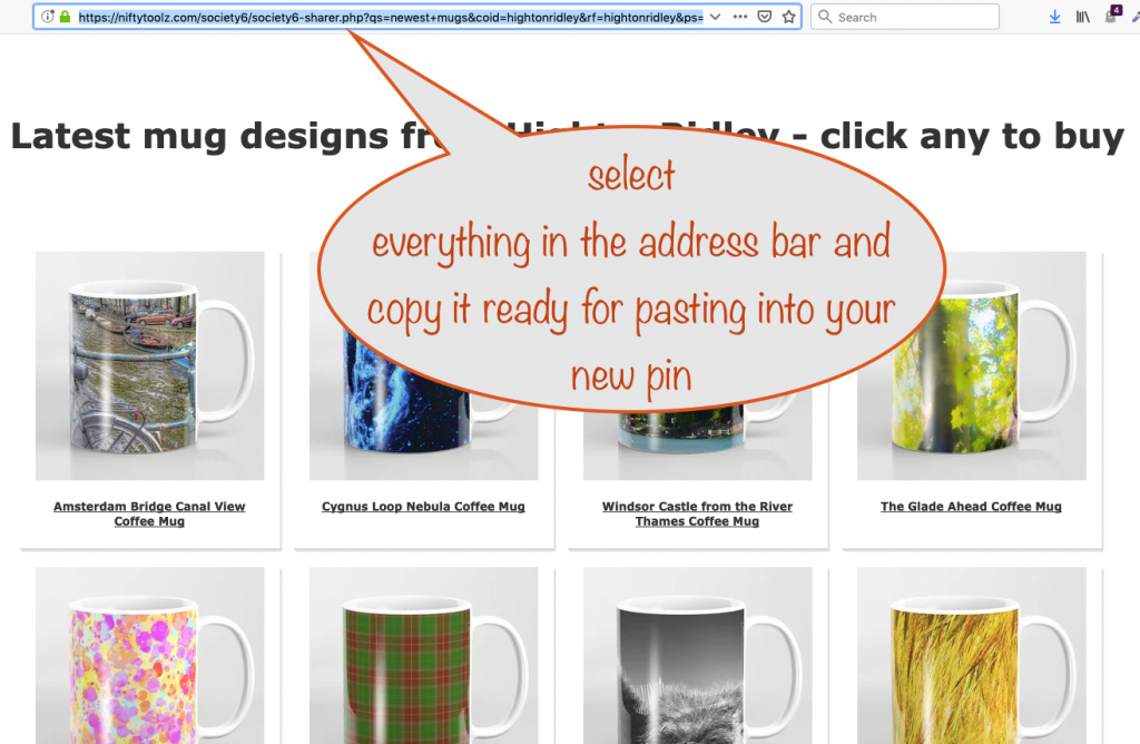 getting the page url from the address bar for your Pinterest pin