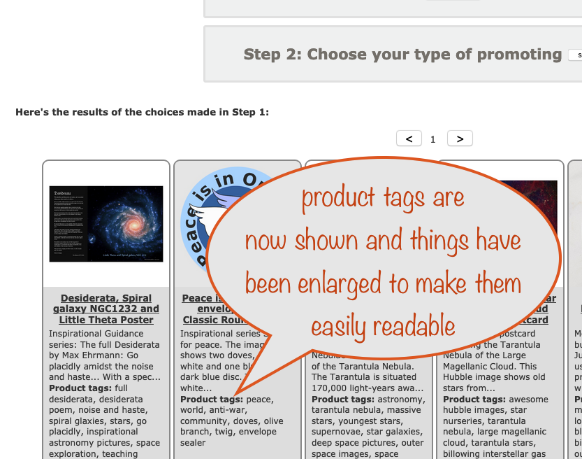 a screenshot showing how the product grid helps you find poor tags by showing the ones you have