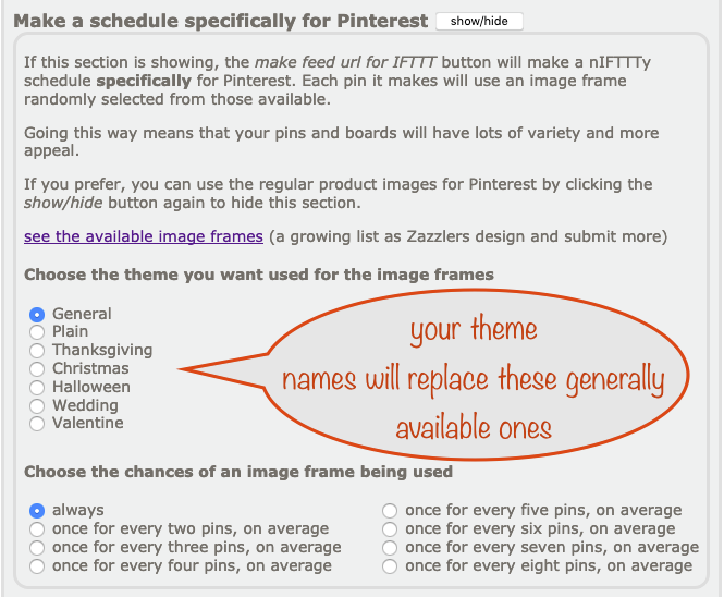 screenshot of the nIFTTTy Scheduler Pinterest section showing where your theme names go