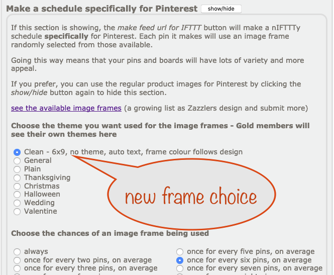 a screenshot showing the new image frame type choice in the nIFTTTy Scheduler