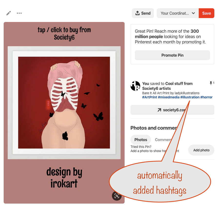 a screenshot of a Pinterest pin showing the automatically added hashtags