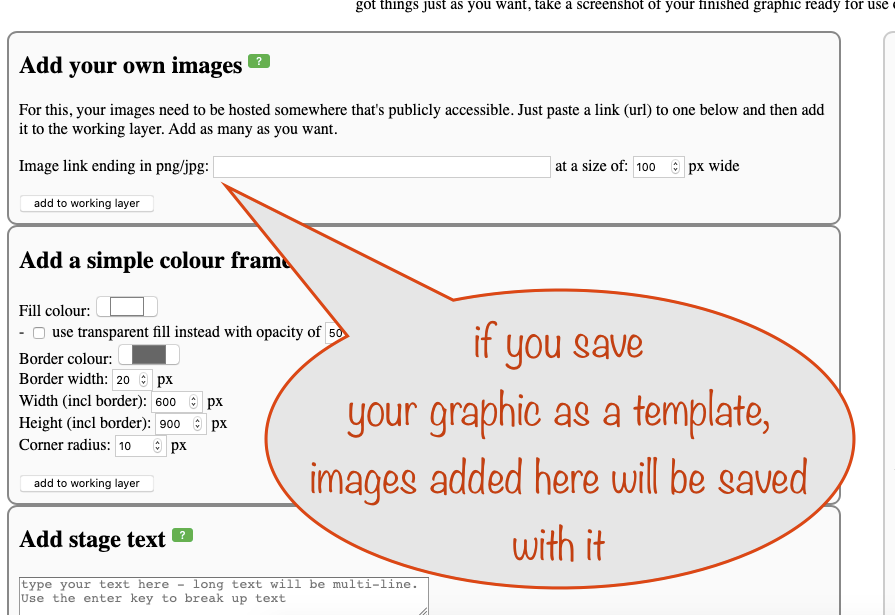 screenshot explaining that images added this way will be saved as part of your template