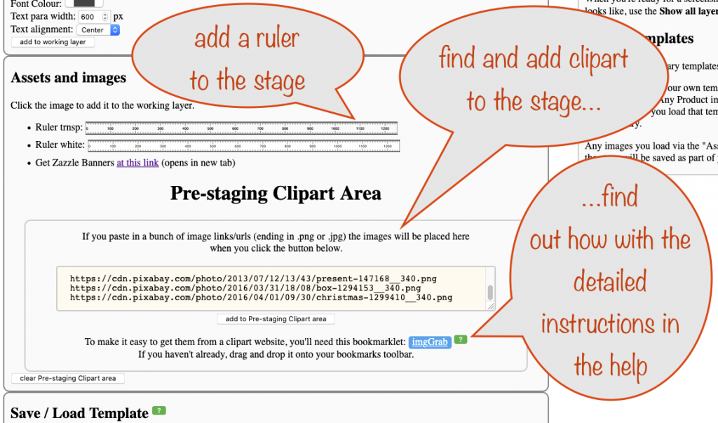 a screenshot showing how to add a ruler to the stage and how to find and add clipart.
