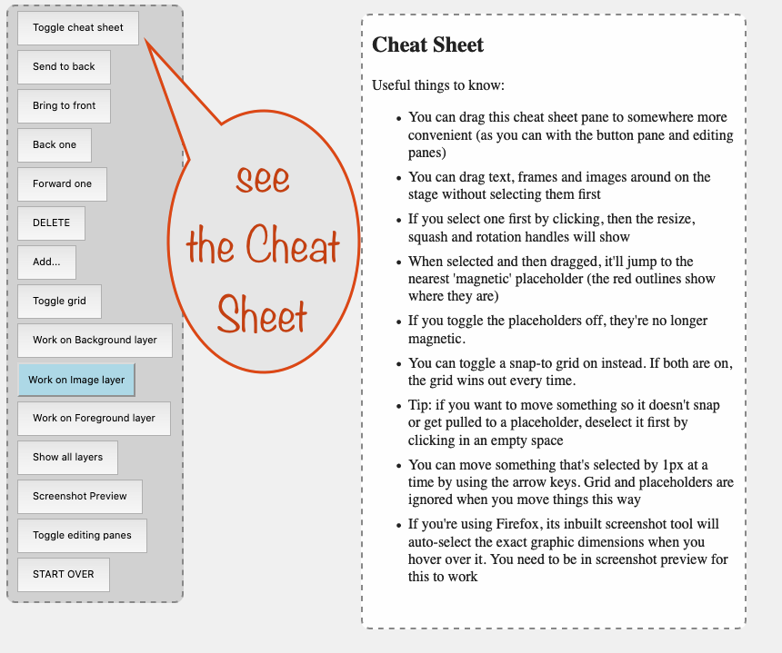 a screenshot showing how to toggle the cheat sheet on and off