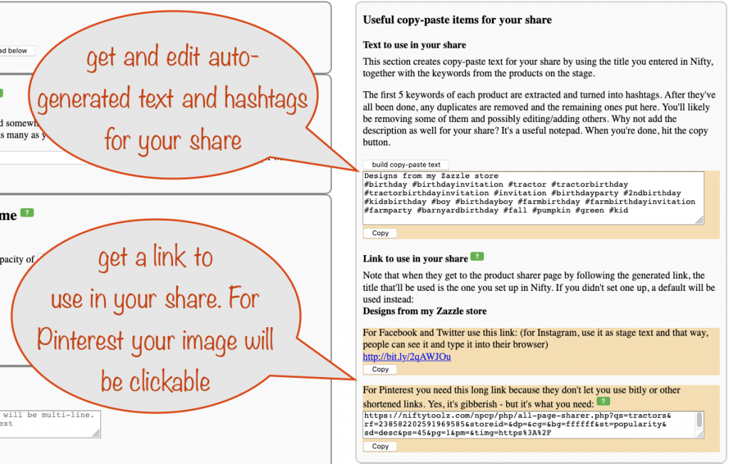a screenshot showing the section for auto generating text, hashtags and a link