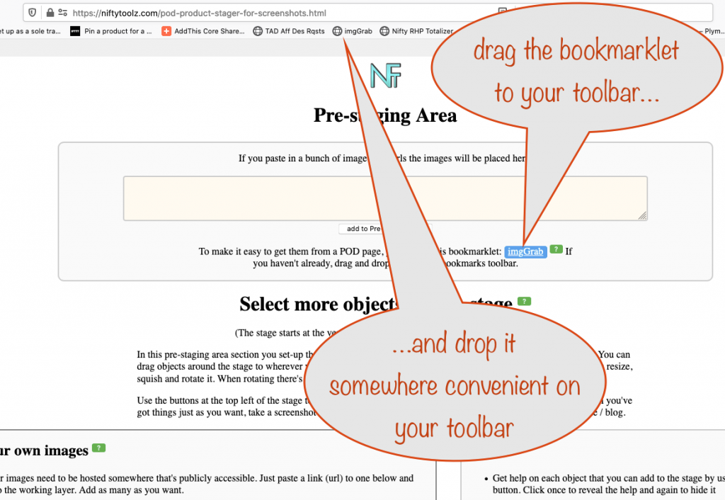 a screenshot showing how to put the bookmarklet on your toolbar