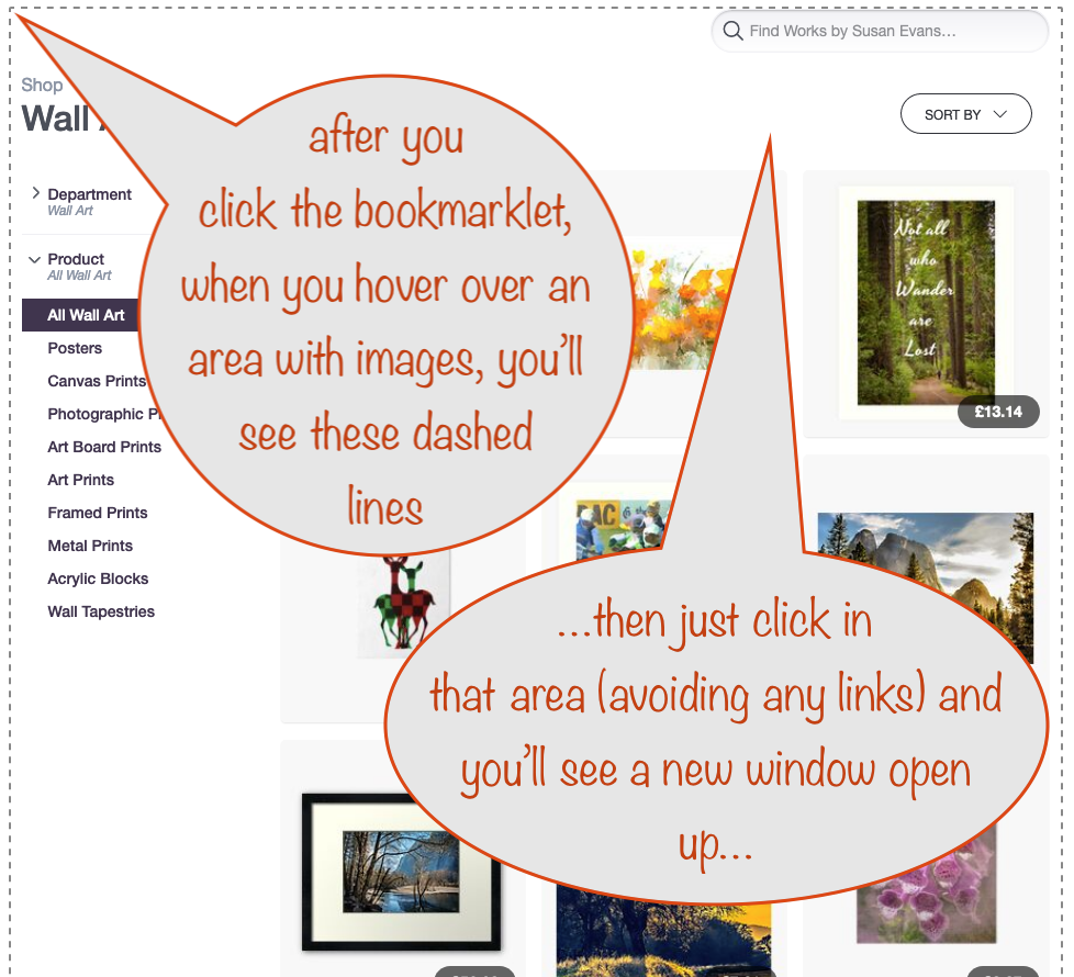 a screenshot showing the imgGrab bookmarklet in action, highlighting the extent of the area hovered over