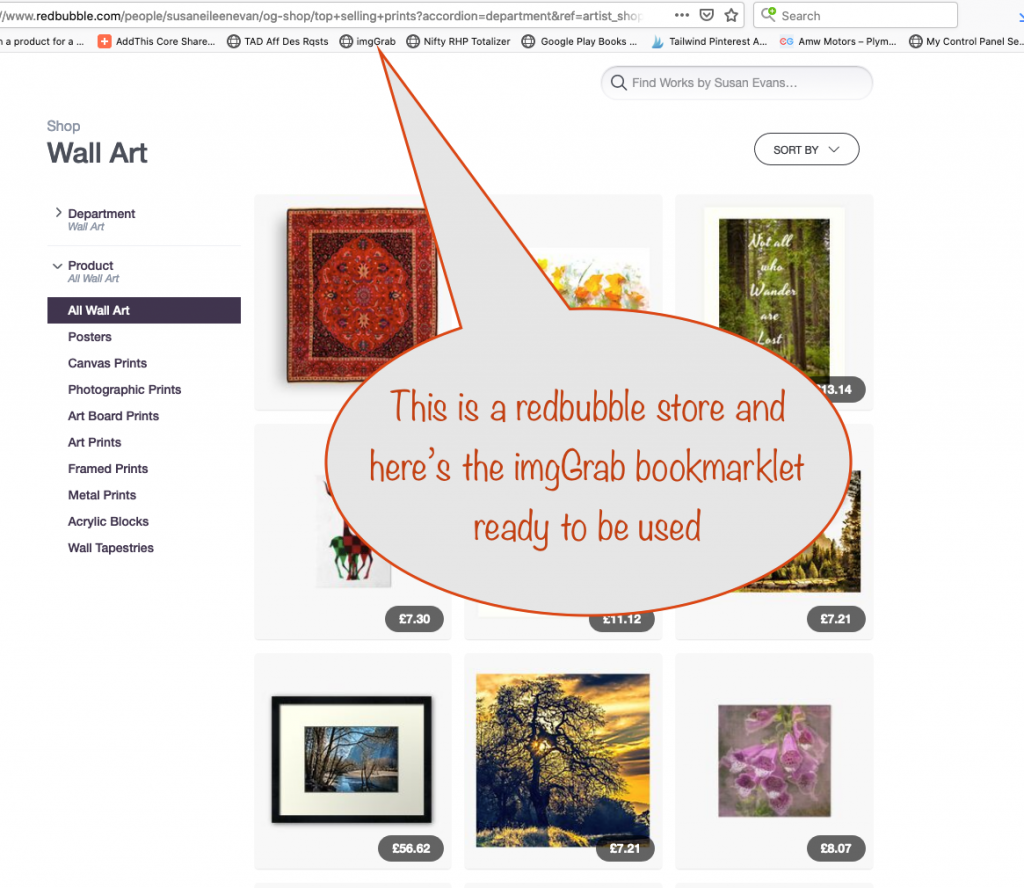 a screenshot showing a RedBubble store, ready to have its images grabbed