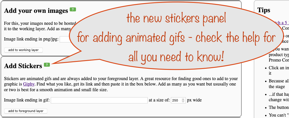 a screesnhot showing the stickers panel for adding animated gifs to your graphic