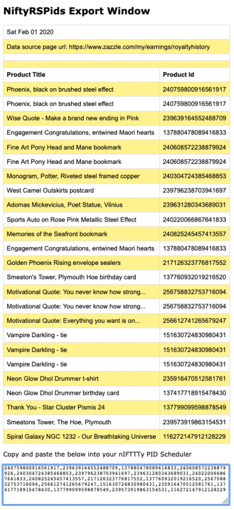 a screenshot showing a typical export window when you use the NiftyRSPids on a page of your Royalty History Report on Zazzle