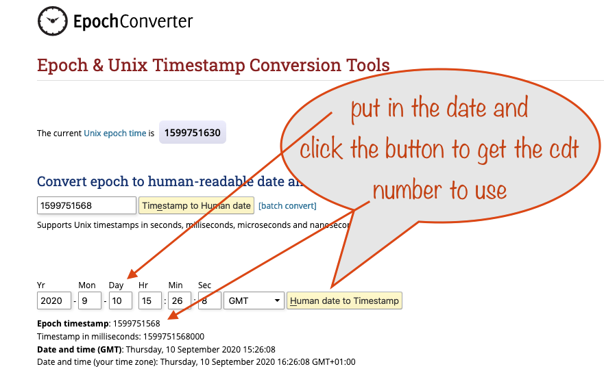a screenshot showing the Epoch Cinverter page for getting the cdt number