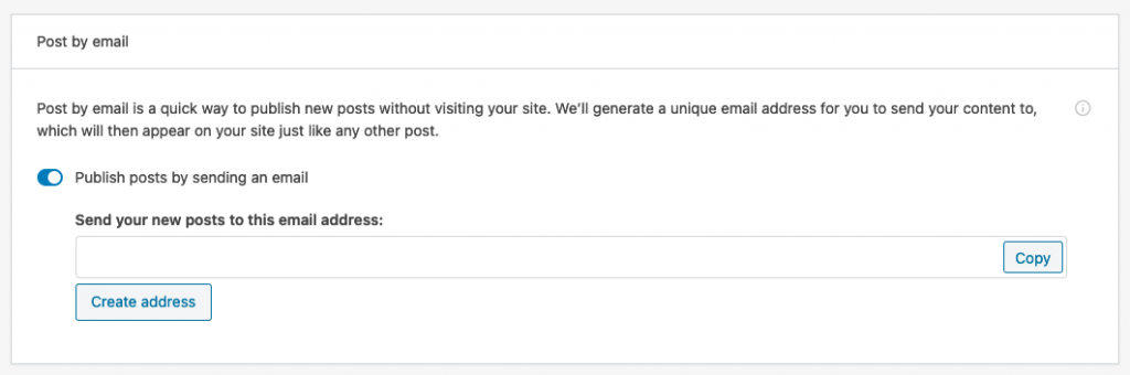 Setting the secret posting email in Jetpack