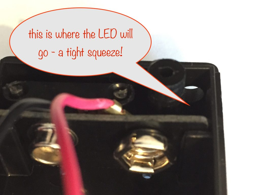 enlarged view of the position where the LED will go
