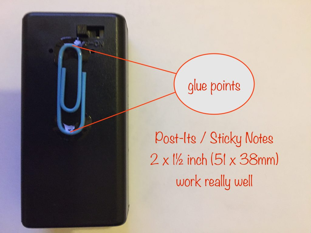 attaching a paperclip to the front