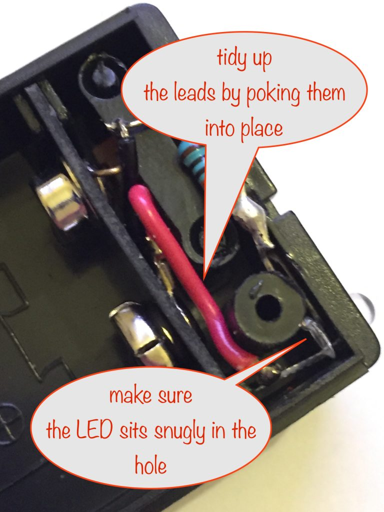 tidying up the leads and making sure the LED is snugly in place