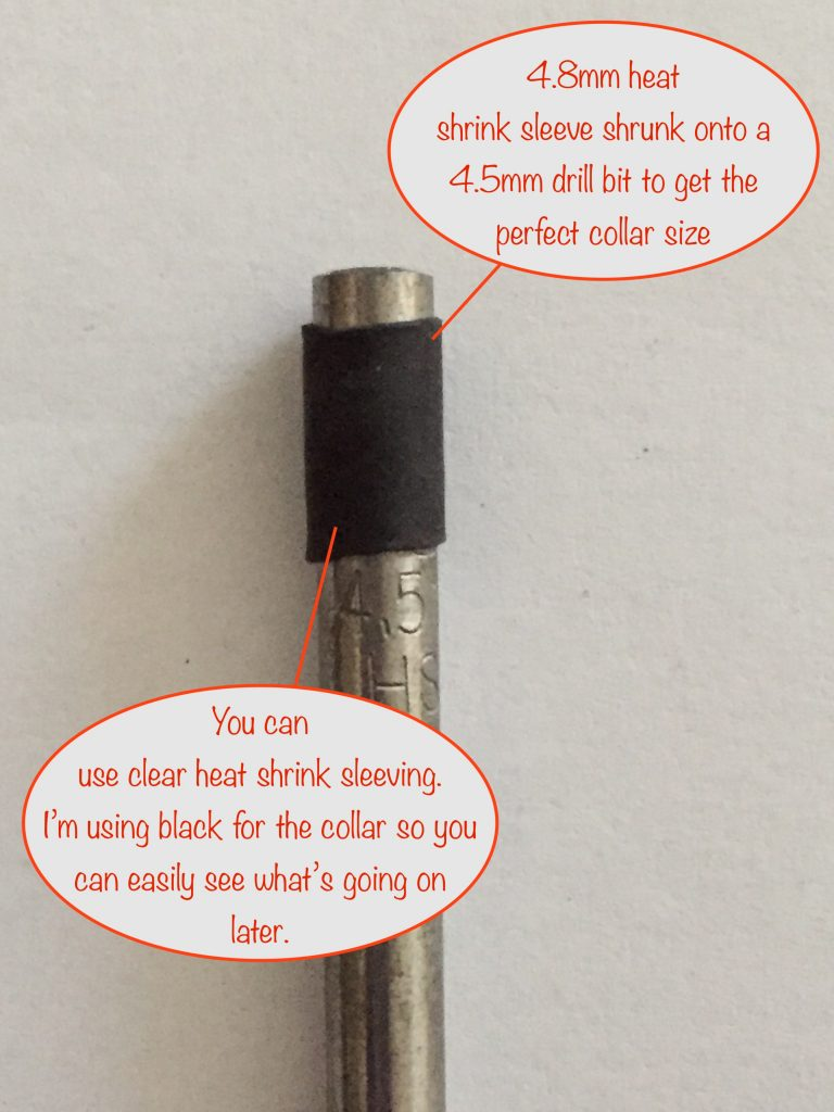 preparing the fibre bundle collar by shrinking the sleeving on a 4.5mm drill bit