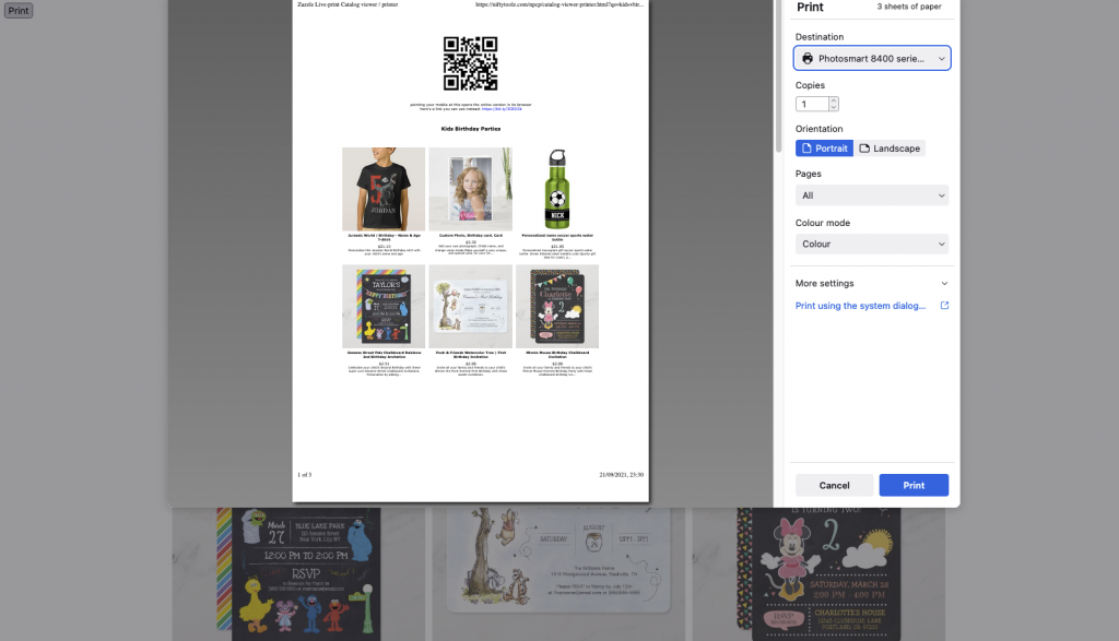 printing a catalog of Zazzle products