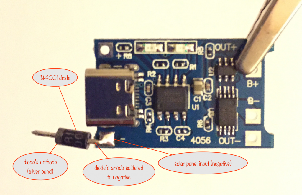 showing where to solder the 1N4001 diode