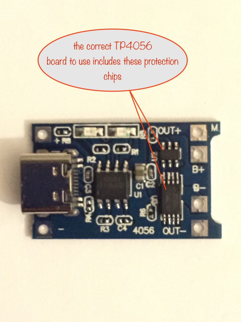 photo of the correct TP4056 board showing the inbuilt protection chips