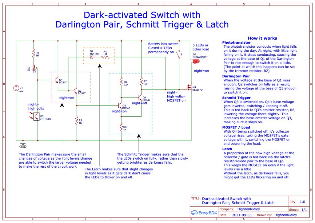 circuit diagram of Dark-activated Switch