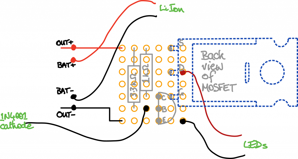a sketch of the stripboard layout
