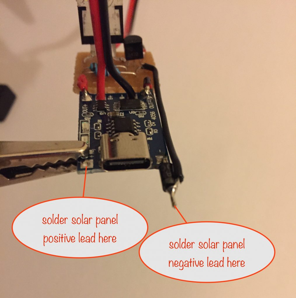 photo showing where to solder the solar panel leads