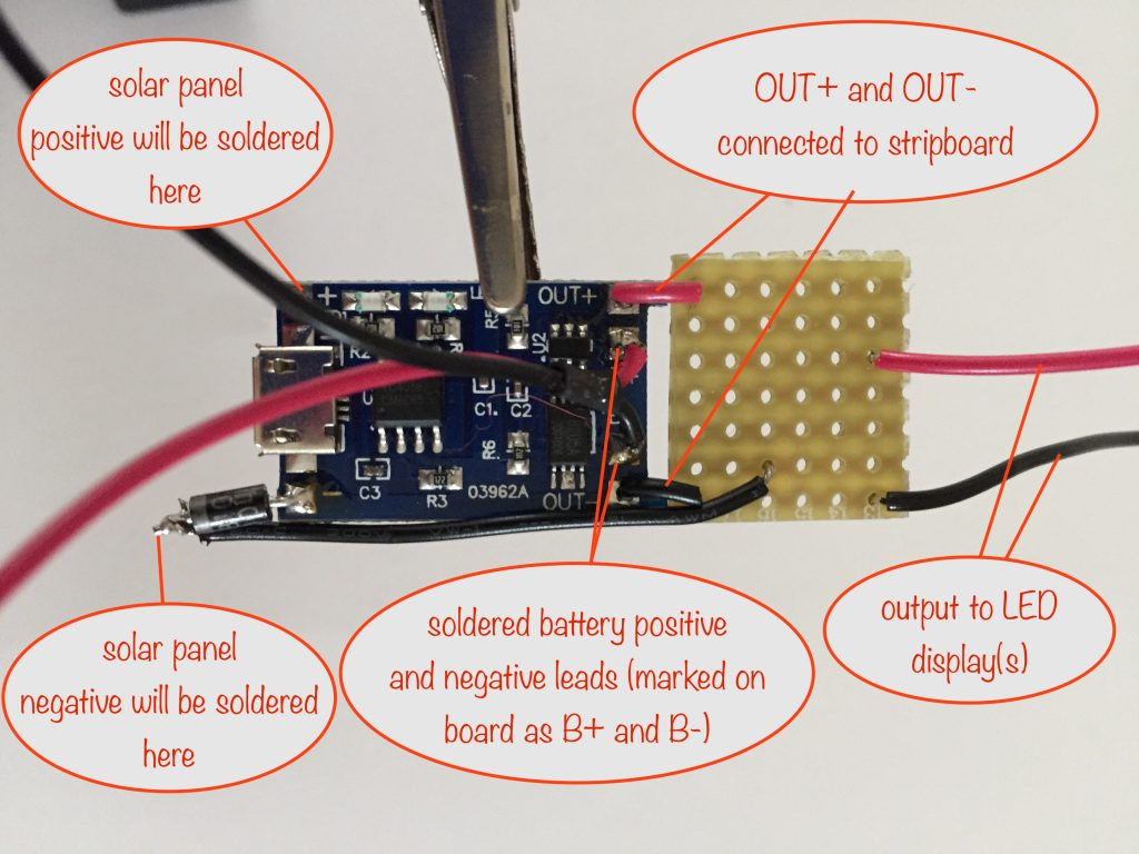 image showing how the TP4056 board is connected to the stripboard